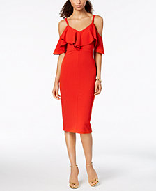 RACHEL Rachel Roy Ruffled Cold-Shoulder Midi Dress