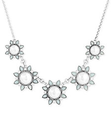 "Lucky Brand Silver-Tone Crystal & Imitation Pearl Flower Collar Necklace, 18"" + 2"" extender"