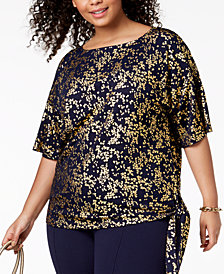 MICHAEL Michael Kors Plus Size Metallic-Print Side-Tie Top