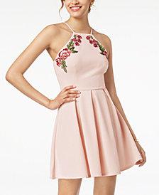 B Darlin Juniors' Appliqué Fit & Flare Dress
