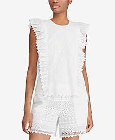 Lauren Ralph Lauren Petite Eyelet Cotton Top