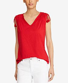 Lauren Ralph Lauren Petite Ruched Cotton Top