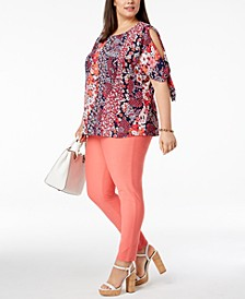 Plus Size Patchwork-Print Cold-Shoulder Top & Stretch-Twill Leggings