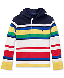 Ralph Lauren Big Boys CP-93 Striped Cotton Rugby Hoodie