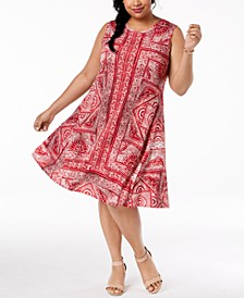 Plus Size Printed Swing A-Line Dress, Created for Macy's