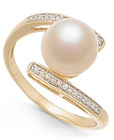 Cultured Freshwater Pearl (8mm) & Diamond Accent Ring in 14k Gold