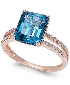 London Blue Topaz (4 ct. t.w.) and Diamond (1/10 ct. t.w.) Split Shank Ring in 14k Gold (Also Available in Amethyst)