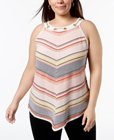 Belldini Plus Size Chain-Link-Trim Sweater Tank