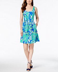 Pappagallo Floral Print Cotton A-Line Pocket Dress