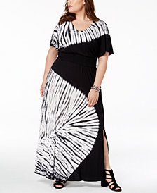 I.N.C. Plus Size Tie-Dyed Maxi Dress, Created for Macy's