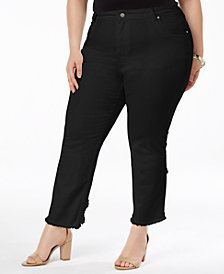 NY Collection Plus & Petite Plus Size Frayed Cutout-Cuff Jeans