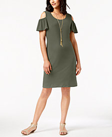 JM Collection Petite Cold-Shoulder Dress, Created for Macy's