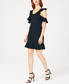 Rachel Zoe Delia Ruffled Cold-Shoulder Dress