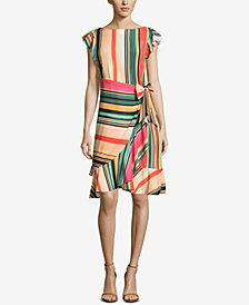 ECI Striped Faux-Wrap Dress