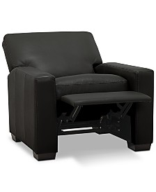 """Ennia 36"""" Leather Pushback Recliner, Created for Macy's"""