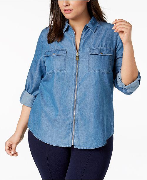 Michael Kors Plus Size Zip Front Denim Shirt Tops Plus Sizes