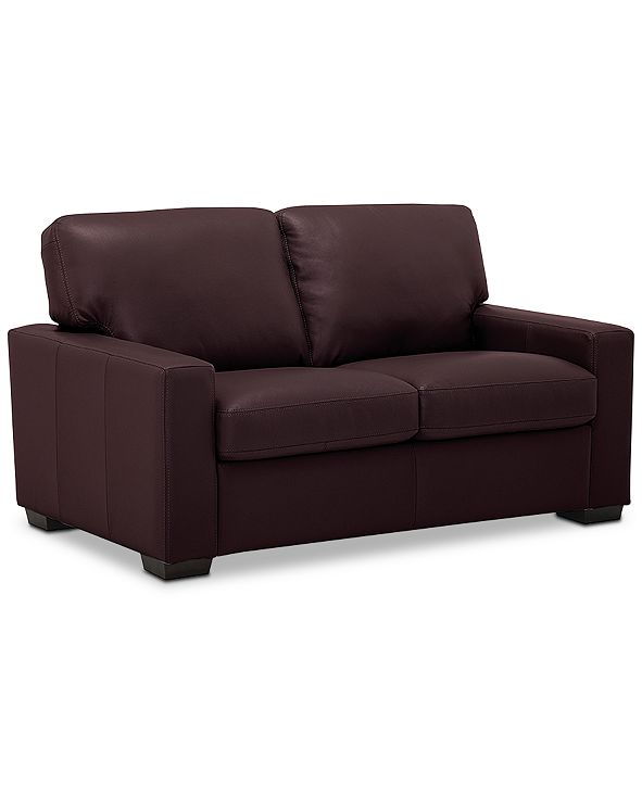 """Furniture Ennia 59"""" Leather Loveseat, Created for Macy's"""