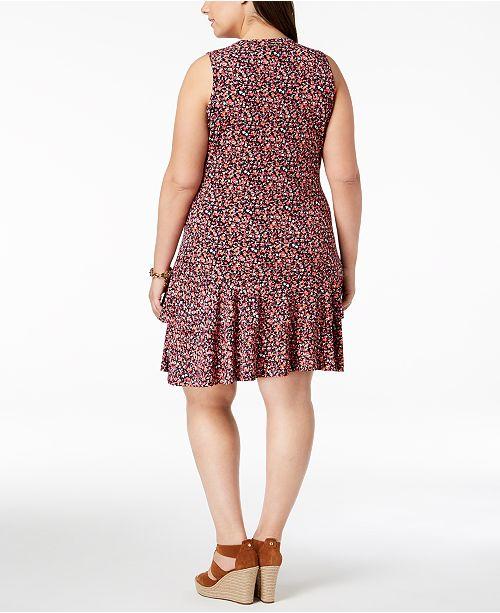 Michael Kors Plus Size Tiered-Hem Drop-Waist Dress & Reviews ...