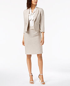 Kasper Kiss-Front Jacket, Tie-Neck Blouse & Tweed Skirt