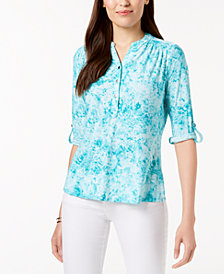 NY Collection Petite Jacquard-Print Split-Neck Top