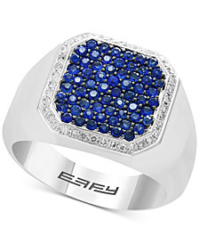 EFFY® Men's Sapphire (1-1/5 ct. t.w.) & Diamond (1/6 ct. t.w.) Ring in Sterling Silver