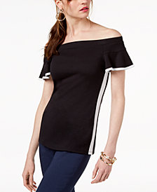 I.N.C. Colorblocked Off-The-Shoulder Top, Created for Macy's
