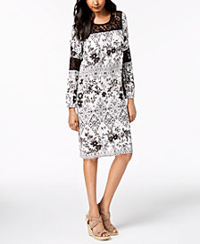 NY Collection Petite Lace-Inset Shift Dress
