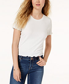 American Rag Juniors' Scalloped Lace-Up T-Shirt, Created for Macy's