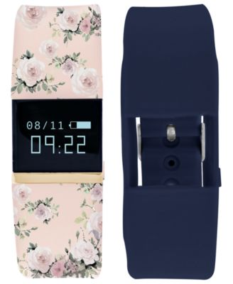 iFitness Pulse Women's Blush Floral & Navy Blue Silicone Strap Smart Watch 20x18mm