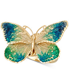 Ceramic Butterfly Ring in 14k Gold