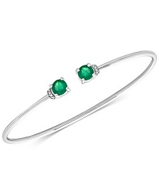 Emerald (1 ct. t.w.) and Diamond Accent Cuff Bangle Bracelet in 14k White Gold