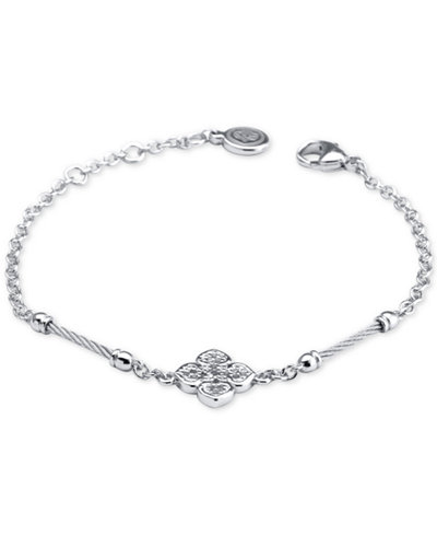 Le Fleur Silver Bracelet with White Topaz and Stainless Steel Cable
