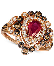 Le Vian® Strawberry & Nude™ Passion Ruby™ (5/8 ct. t.w.) & Diamond (5/8 ct. t.w.) Ring in 14k Rose Gold