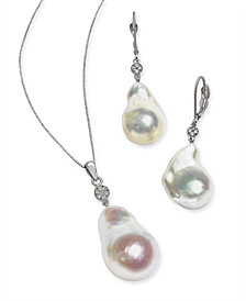Baroque Pearl & Diamond Accent Jewelry Collection in 14k White Gold