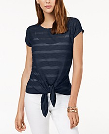 INC Illusion Tie-Front T-Shirt, Created for Macy's