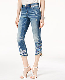I.N.C. Embroidered Step-Hem Ankle Skinny Jeans, Created for Macy's