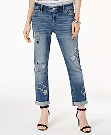 I.N.C. Curvy-Fit Star Patch Boyfriend Jeans, Created for Macy's