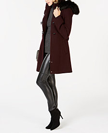 Calvin Klein Faux-Fur-Trim Hooded Coat