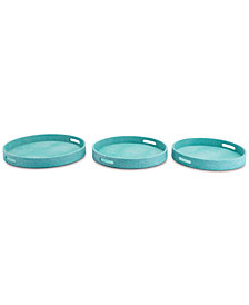 Zuo Catania 3-Pc. Aqua Lizard-Embossed Round Tray Set