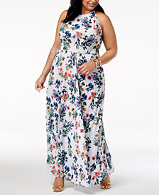 Rebdolls Plus Size Printed Maxi Dress from The Workshop at Macy's