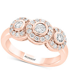 Pavé Rose by EFFY® Diamond Triple Halo Ring (5/8 ct. t.w.) in 14k Rose Gold