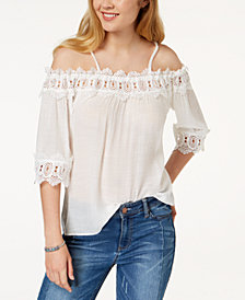 BCX Juniors' Crochet-Trimmed Off-The-Shoulder Top