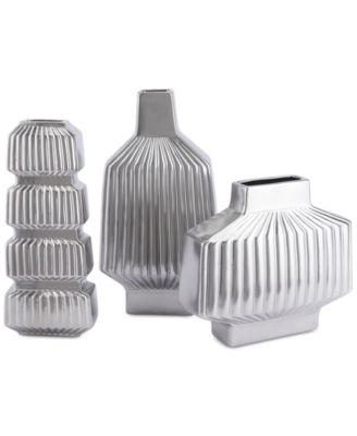 Tower Matte Silver-Tone Medium Vase