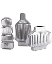 Tower Matte Silver-Tone Vase Collection