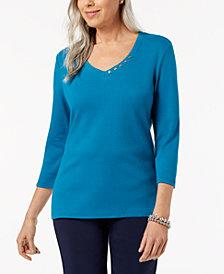 Karen Scott Cotton V-Neck Button Top, Created for Macy's