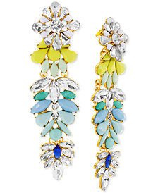 Steve Madden Gold-Tone Multi-Stone Flower Chandelier Earrings