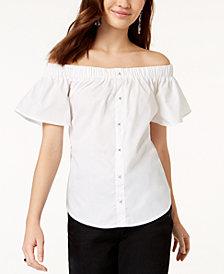 7 Sisters Juniors' Off-The-Shoulder Back-Tie Top