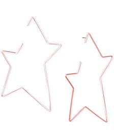 Rose Gold-Tone Open Star Drop Earrings