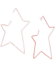 Steve Madden Rose Gold-Tone Open Star Drop Earrings