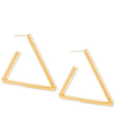 Steve Madden Gold-Tone Textured Triangle Drop Earrings